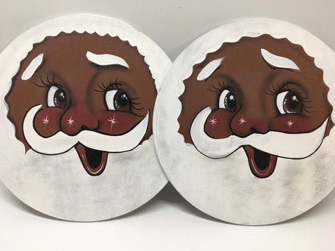 "Santa Face, 12"", Round, African American"