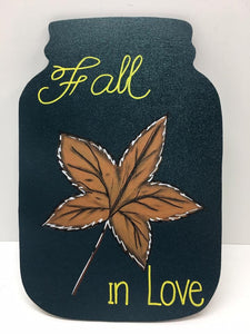 Fall in Love Mason Jar