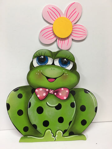 #403 Frog with flower 14""