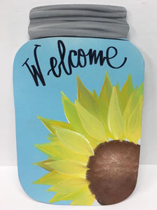 Mason jar welcome 14""