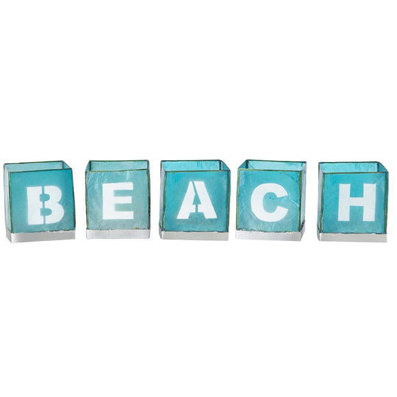 Candle Holder Light Box Set - Spells BEACH (Teal) - CHK BEA