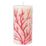 Pillar Candle - White with Red Coral Inlay