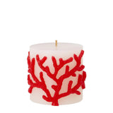 Pillar Candle - White with Red Coral Embossed