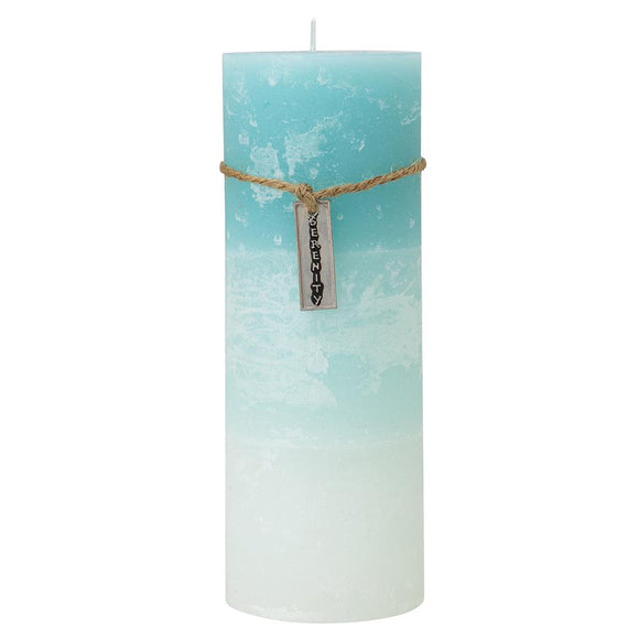 Pillar Candle - Light Blue, White with Serenity Tag