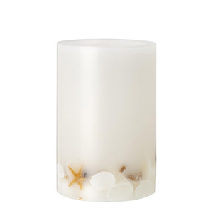 Pillar Candle - Wax Lantern - White with Seashells Inlaid