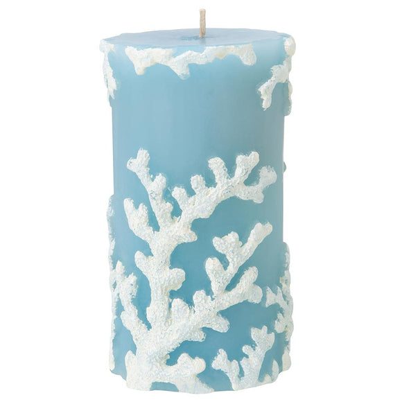 Pillar Candle - Blue with White Coral Embossed