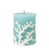 Pillar Candle - Aqua with White Coral Embossed