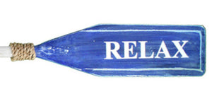 "Wood Paddle with Rope (4' 7"") - White/Blue ""RELAX"" - OK 618 21"