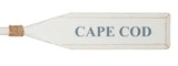 "Wood Paddle with Rope (5' 5"") - White/White with Nantucket Blue ""CAPE COD"" - OK 595 35"