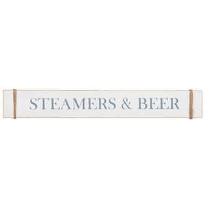 "Wood Sign - Steamers & Beer (4"" x 28"") - SJ2005"