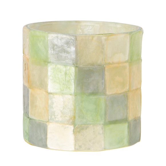 Capiz Tea Light Candle Holder (Aqua, Multi) - SK 341 AM