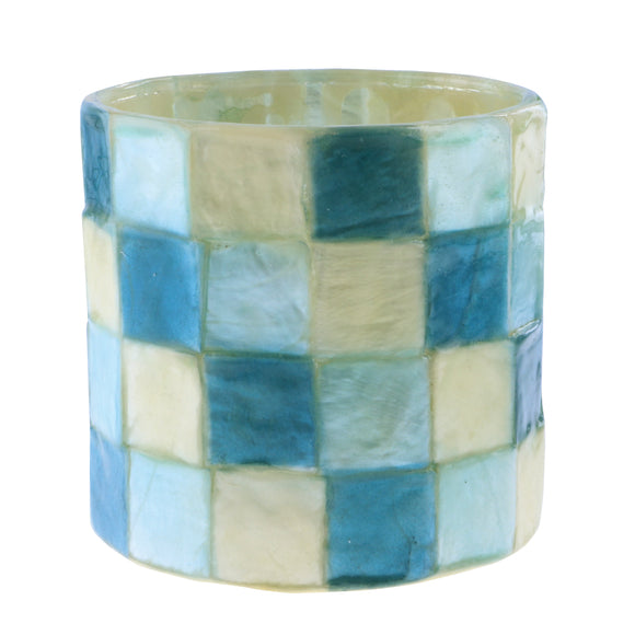 Capiz Tea Light Candle Holder (Blue, Multi) - SK 341 BM