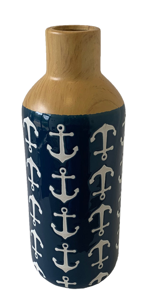 Ceramic Vase with Anchors (4.7
