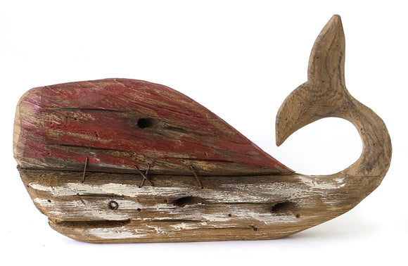 Red Driftwood Whale Décor (15