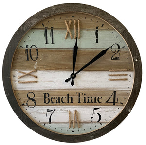 "Iron Wall Clock ""Beach Time"" (23.6"" x Dia. x 1.75"") - UCHWB9354A"