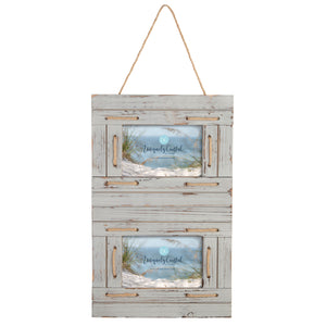 Hanging Wood Painting Frame w/rope natural with linen string to hang on wall - UCPF103