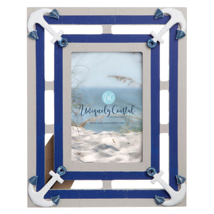Wood Painting Frame anchors vertical white wash/navy - UCPF113
