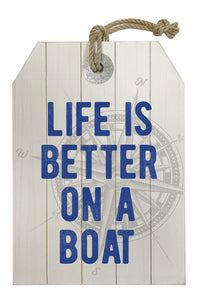 MDF wall decor, white wash, compass, life is better on a boat - WP201