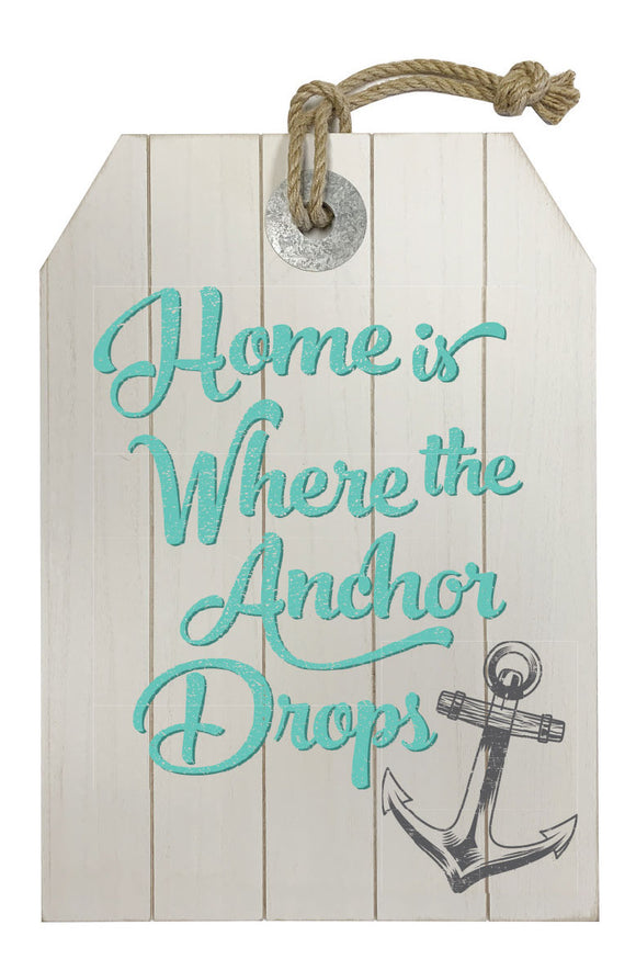 MDF wall decor, white wash, small anchor, home is where - WP203