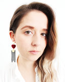 Load image into Gallery viewer, Heart Houndstooth Earrings