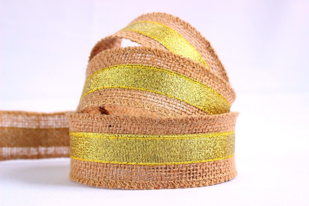Gold trim hessian Christmas ribbon