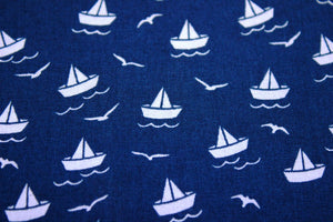 Little boats cotton fabric