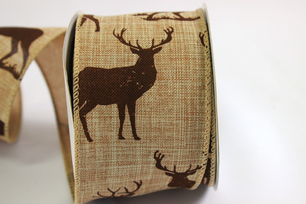 Stag hessian Christmas ribbon
