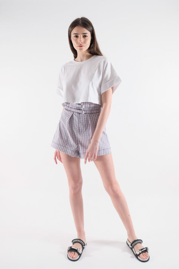 Shorts a Vita Alta Camille in Popeline Stretch