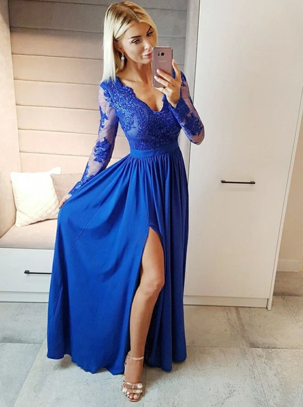 A-Line V-Neck Blue Long Chiffon Prom Dress with Appliques