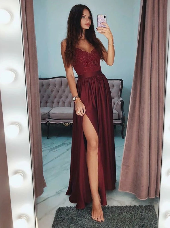 Burgundy A Line Lace Prom Dresses Long Sexy Side Slit Formal Dress