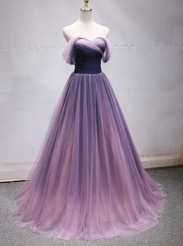 Off Shoulder Tulle Long Ombre Prom Dresses TB1347