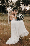 A Line V Neck Long Wedding Dresses Lace Embroidery Bohemian Bridal Gown 30cm length Train