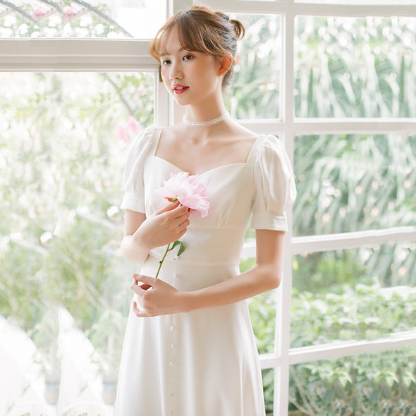 Simple Wedding Dress With Short Sleeves Tea Length A Line Bride Dress
