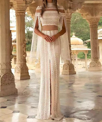 Gorgeous Long Sleeves Lace Boho Wedding Dress