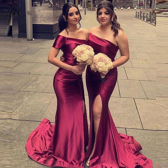 One Shoulder Mermaid Bridesmaid Dresses Slit Sexy Burgundy Wedding Guest Party Dresses