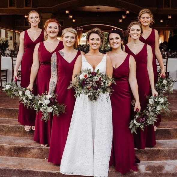 Burgundy Bridesmaid Dresses V Neck Cheap 2020 Chiffon Floor Length Mermaid Country Wedding Maid of Honor Gown Custom Made Plus Size
