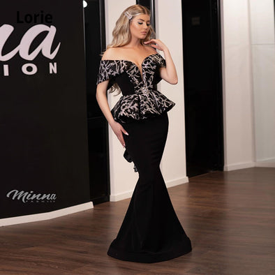 Off the Shoulder Arabic Black Evening Dresses Mermaid V-neck Lace Prom Dresses TBE010