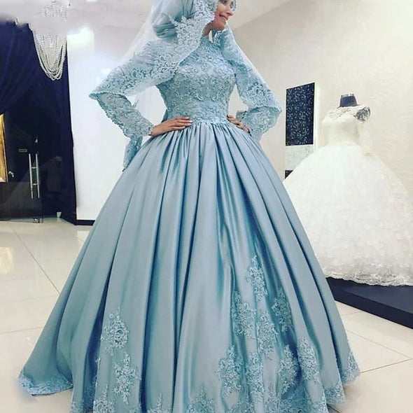 Blue Arabic High Neck Long Sleeves Ball Gown Muslim Wedding Dress TBW76
