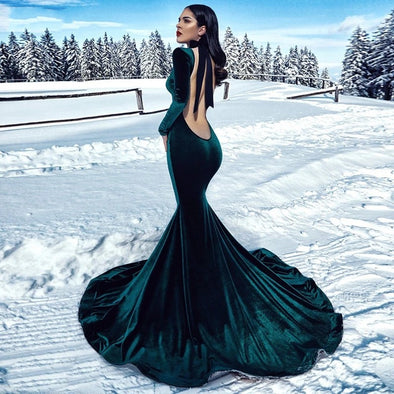 Green Mermaid Velvet Evening Dress Long Sleeves Backless