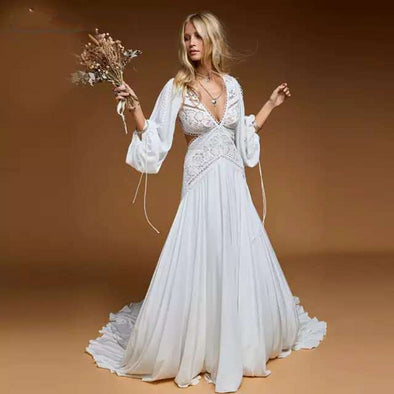 Chic Boho Beach Wedding Dress 2021 Lace Chiffon Long Lantern sleeve Wedding Gowns