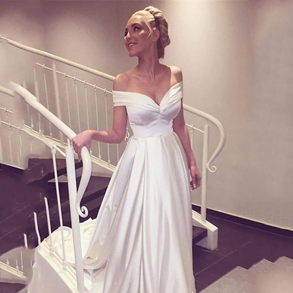 Elegant Wedding Dress Off the shoulder White /Ivory Satin A-line Wedding Gown