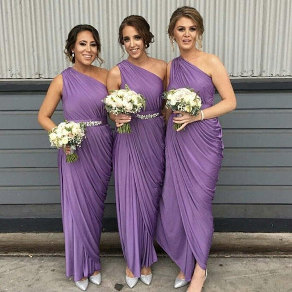 One Shoulder Navy Blue/Peach/Ivory/Champagne/Silver/Yellow/Hunter Long Bridesmaid Dresses