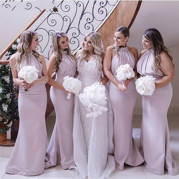 Halter Beaded Bridesmaid Dresses Satin Floor Length Mermaid Maid Of Honor Gowns