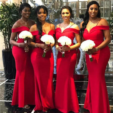 Red Long Mermaid Bridesmaid Dresses Cheap Off The Shoulder Maid Of Honor Dress Wedding Party Gowns For Women
