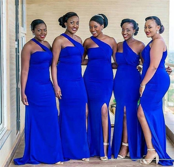 Royal Blue One Shoulder Floor Length Satin Pleated Mermaid Bridesmaid Dresses