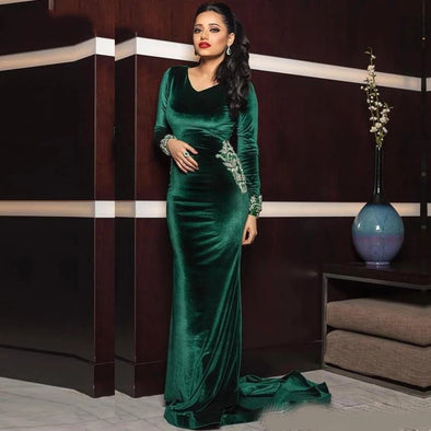 Green Velvet Evening Formal Dresses Lace Beaded V-neck Long Sleeve