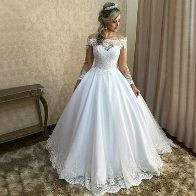 Off the Shoulder Long Sleeve Ball Gown Lace Wedding Dresses
