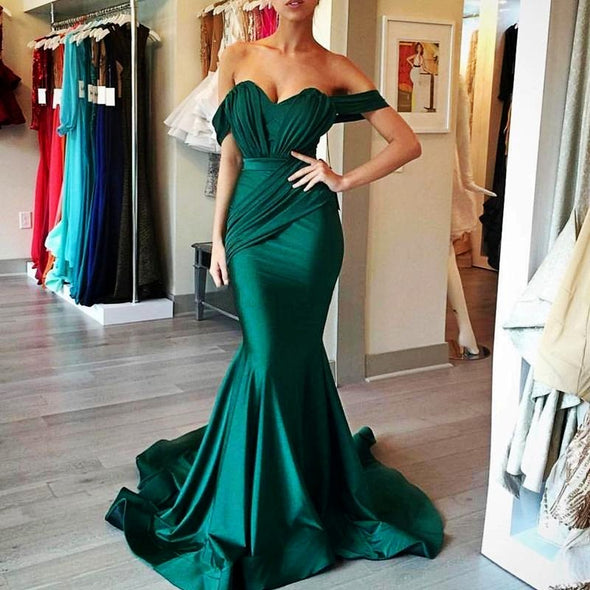 Emerald Green Bridesmaid Dresses 2021 with Ruffles Mermaid Off Shoulder Wedding Gust Dress Junior Maid of Honor Gowns