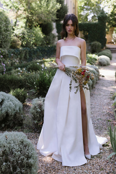 Classic A Line Satin Simple Wedding Dress TT427