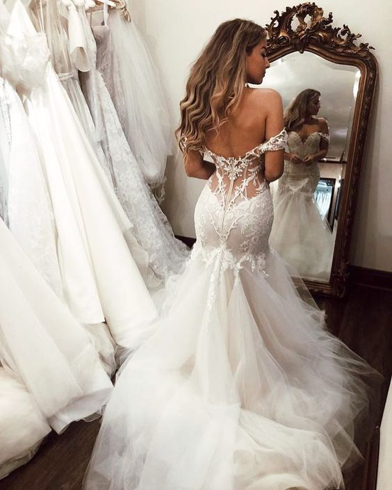 Sexy Backless Mermaid Wedding Dresses Off-the-Shoulder Zipper Back Tulle Wedding Bridal Gown